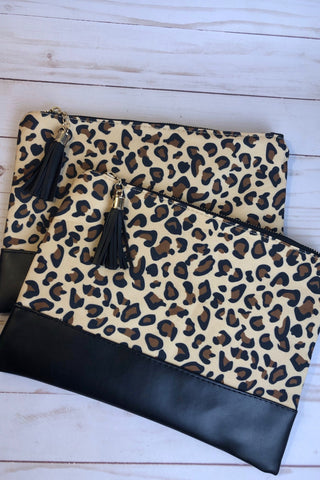 Leopard Clutch with Tassel Zipper Pull