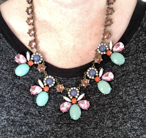 Floral Rhinestone Crystal Necklace