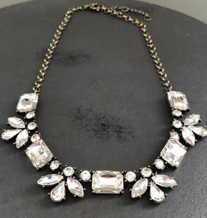 Clear Floral & Rectangle Rhinestone Crystal Necklace