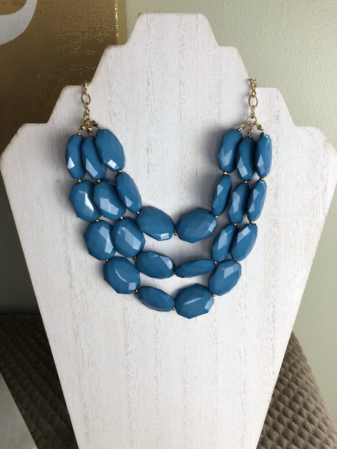Triple Strand Statement Necklace in Teal