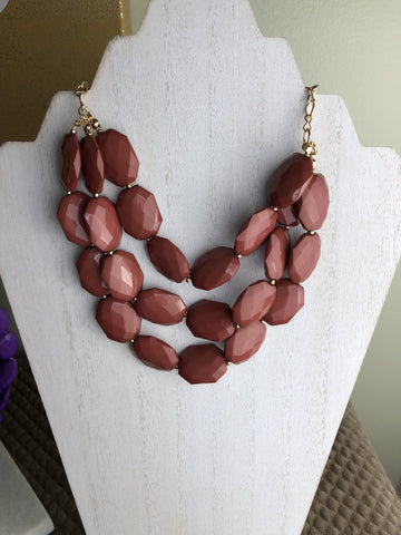 Triple Strand Statement Necklace in Mauve