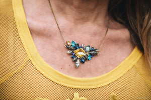 Blue & Yellow Rhinestone Crystal Necklace