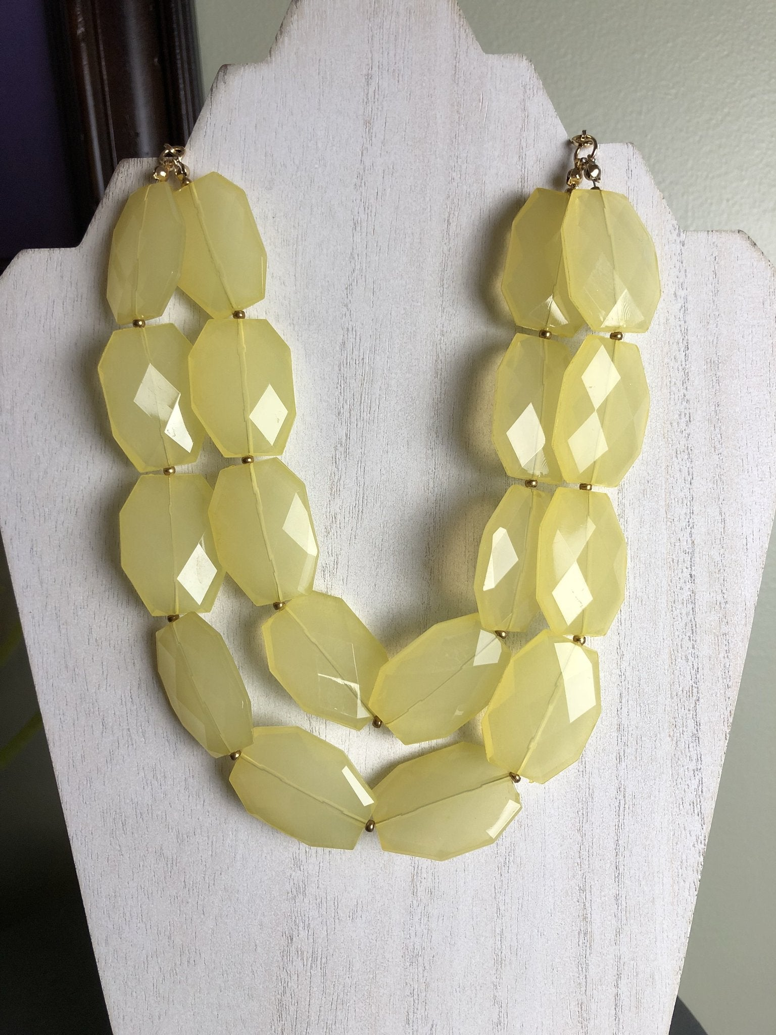 Double Strand Statement Necklace in Lemon