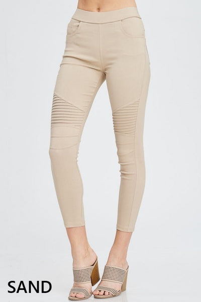 Cotton Blend Moto Jeggings in Sand