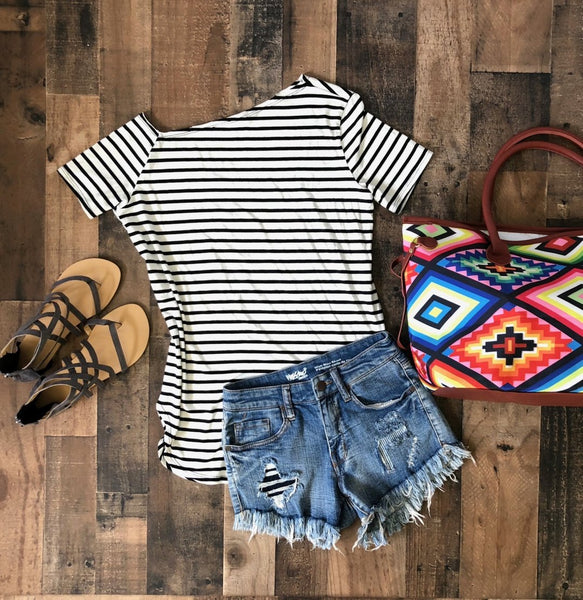 One Shoulder Black and White Striped Shirt