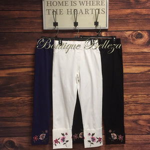 Floral Embroidered Wide Cuff Pants in Black