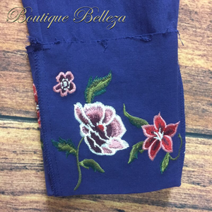 1X Navy Floral Embroidered Wide Cuff