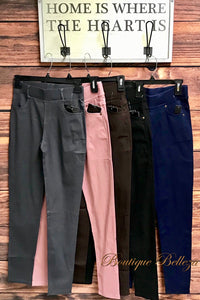 Stretch Skinny Pants with Pockets *5 Colors* Woven