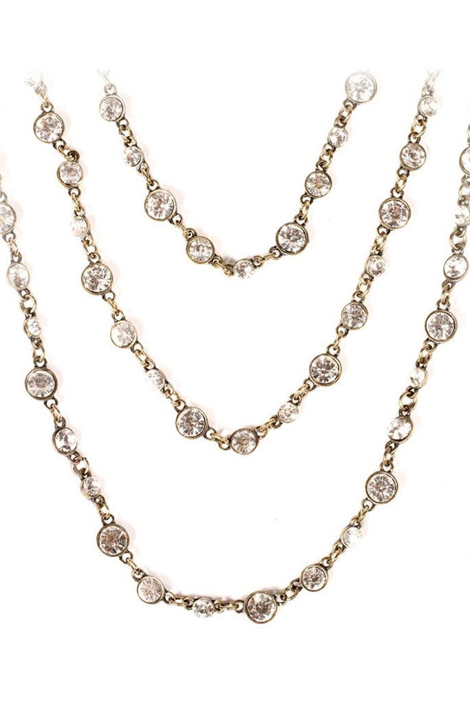 Three Tier Crystal Necklace in Antique Gold