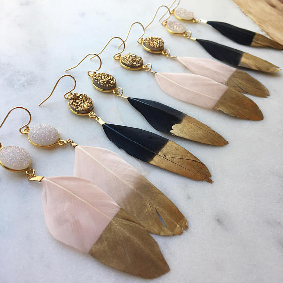Gold Dipped Feather Druzy Earrings - Michelle James Designs