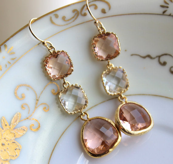 Gold Blush Tiered Earrings