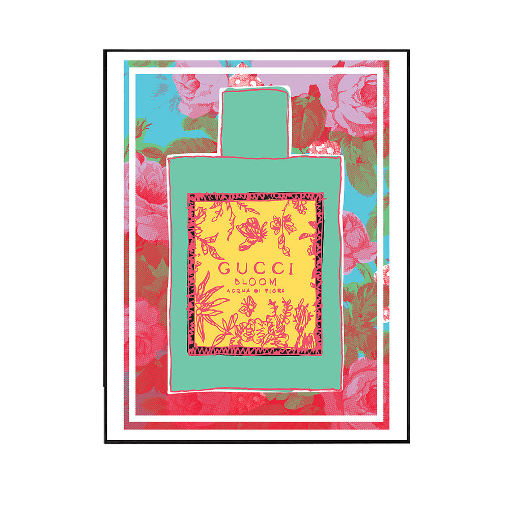 Quin Stone replant his pop art palette and style into the high end brand Gucci's perfume bottle, employing the roses patterns to spread the fragrance.