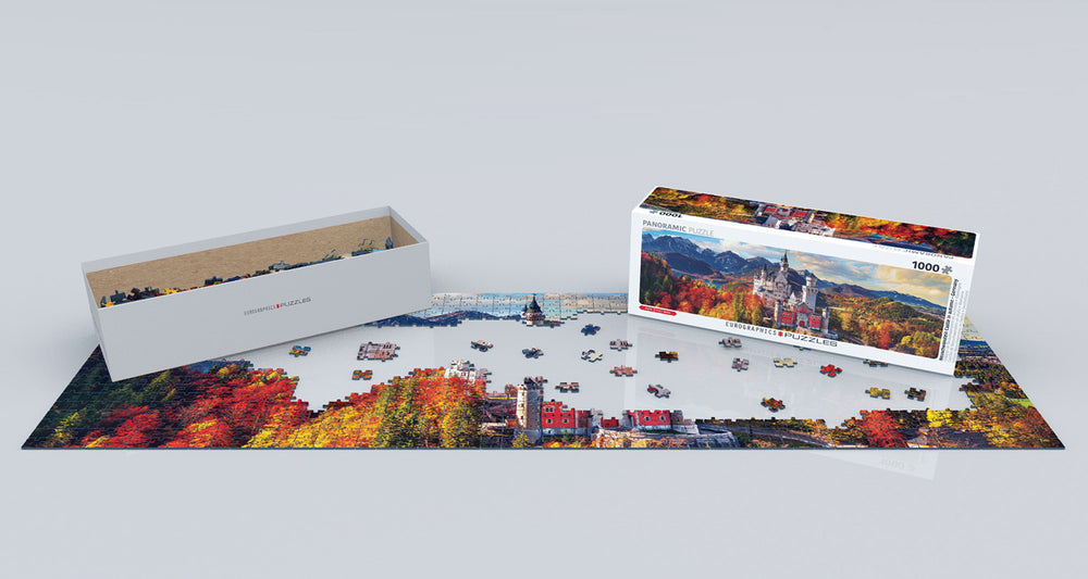 Neuschwanstein in Fall - Panoramic 1000 Piece Family Jigsaw Puzzle