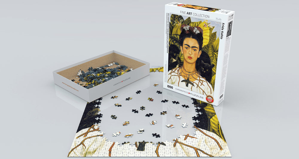 Self-Portrait with Thorn Necklace and Hummingbird, Frida Kahlo 1000-Piece Puzzle