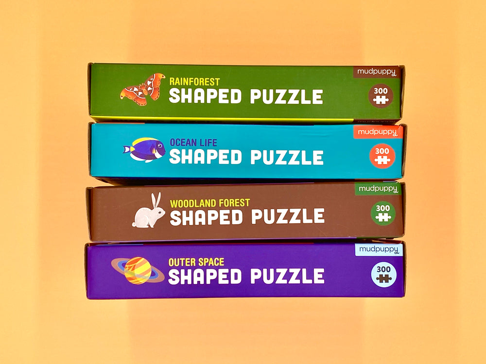 Puzzle Bundle Deal-Pack of 4 Shaped 300 Piece Jigsaw Puzzle: Rainforest, Woodland Forest, Outer Space, Ocean Life
