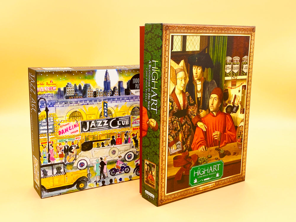 Puzzle Bundle Deal-A Set of 2 Stunning Puzzle 1000 Piece Jigsaw Puzzle-Michael Storrings Jazz Age, High Art:A Budtender in His Shop