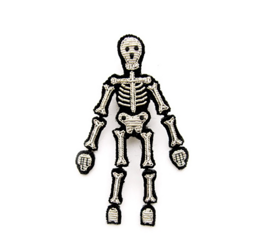 "LARGE HAND-EMBROIDERED ""SKELETON"" BROOCH"