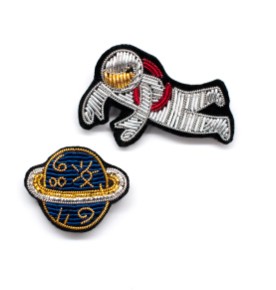 "HAND-EMBROIDERED ""COSMONAUT"" BROOCH"