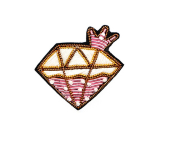 "HAND-EMBROIDERED ""FANTASY PINK DIAMOND"" BROOCH"