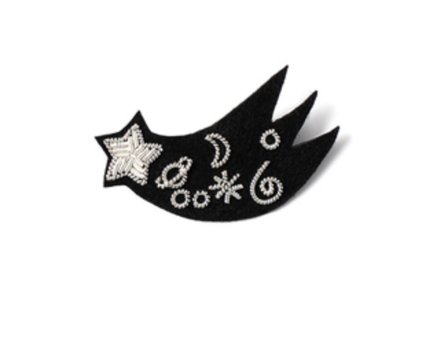"HAND-EMBROIDERED ""SHOOTING STAR"" BROOCH"
