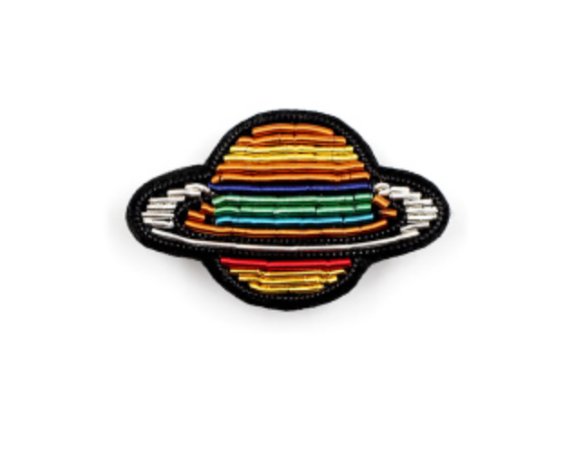 "HAND-EMBROIDERED ""SATURN"" PIN"