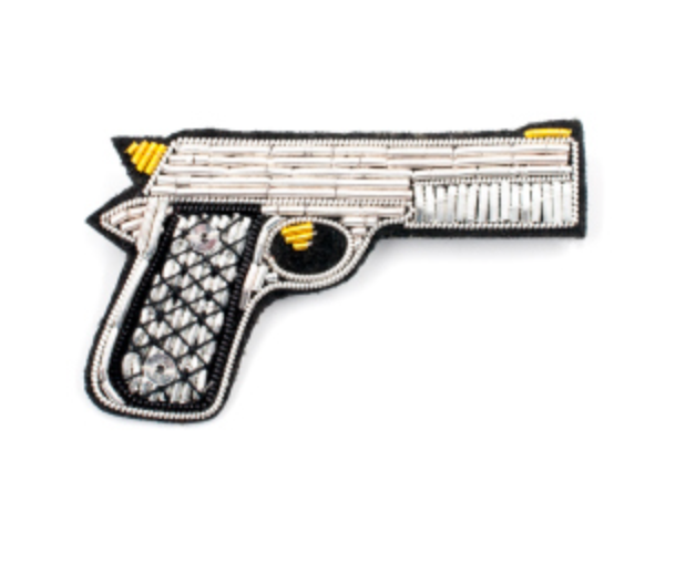 "HAND-EMBROIDERED ""GUN"" BROOCH"