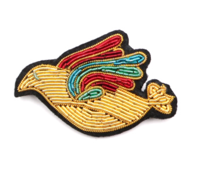 "HAND-EMBROIDERED ""GOLD DOVE"" BROOCH"