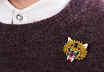 "LARGE HAND-EMBROIDERED ""BENGAL TIGER"" BROOCH"
