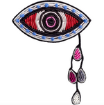 "LARGE HAND-EMBROIDERED ""EYES"" BROOCH"
