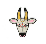 "LARGE HAND-EMBROIDERED ""SACRED COW"" BROOCH"
