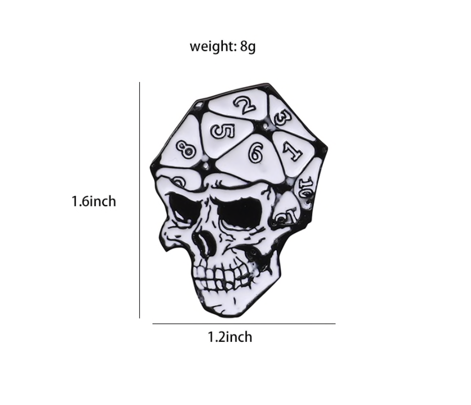 D20 Skull Pin Halloween Collection