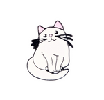 White Fat Cat Enamel Pin