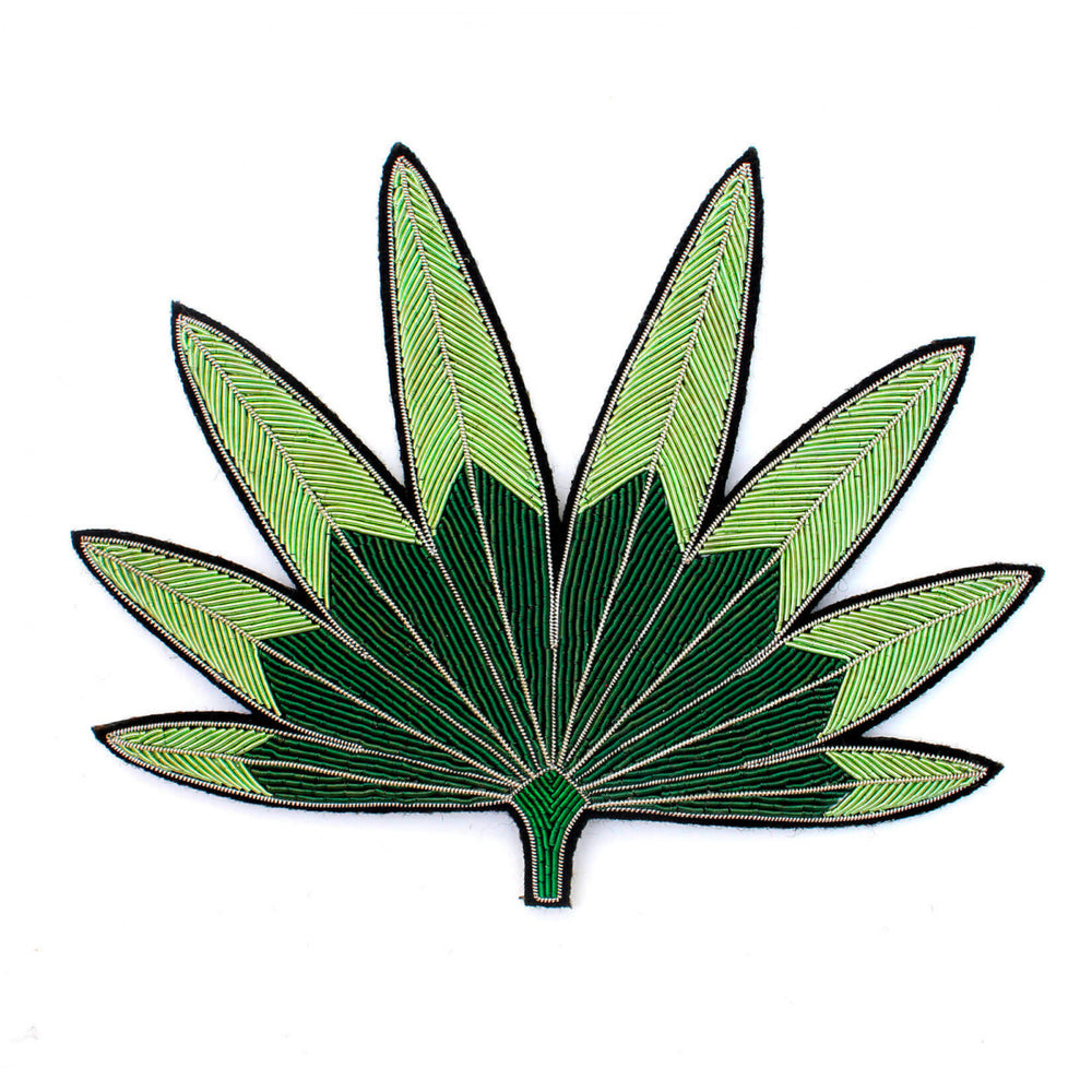 Green Palm Leaf Embroidered Brooch