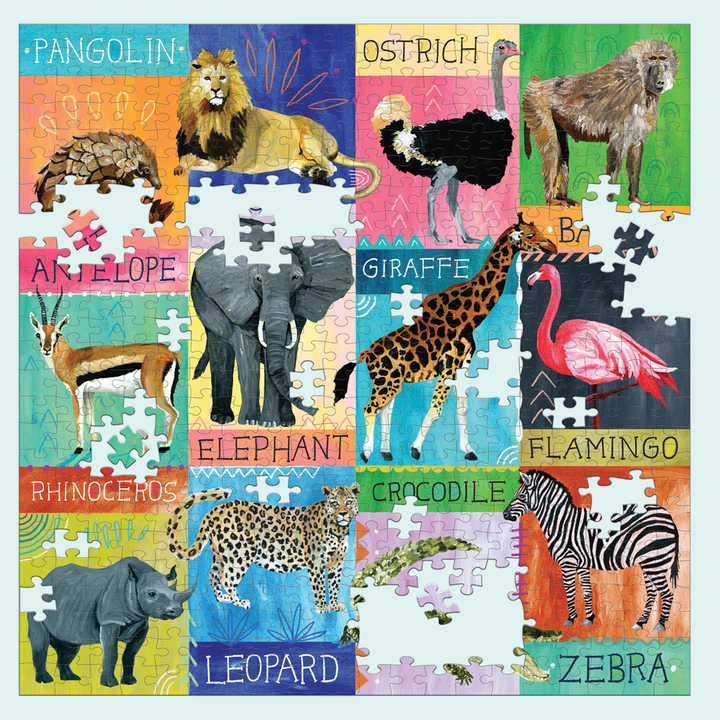 Painted Safari 500 Piece Family Puzzle