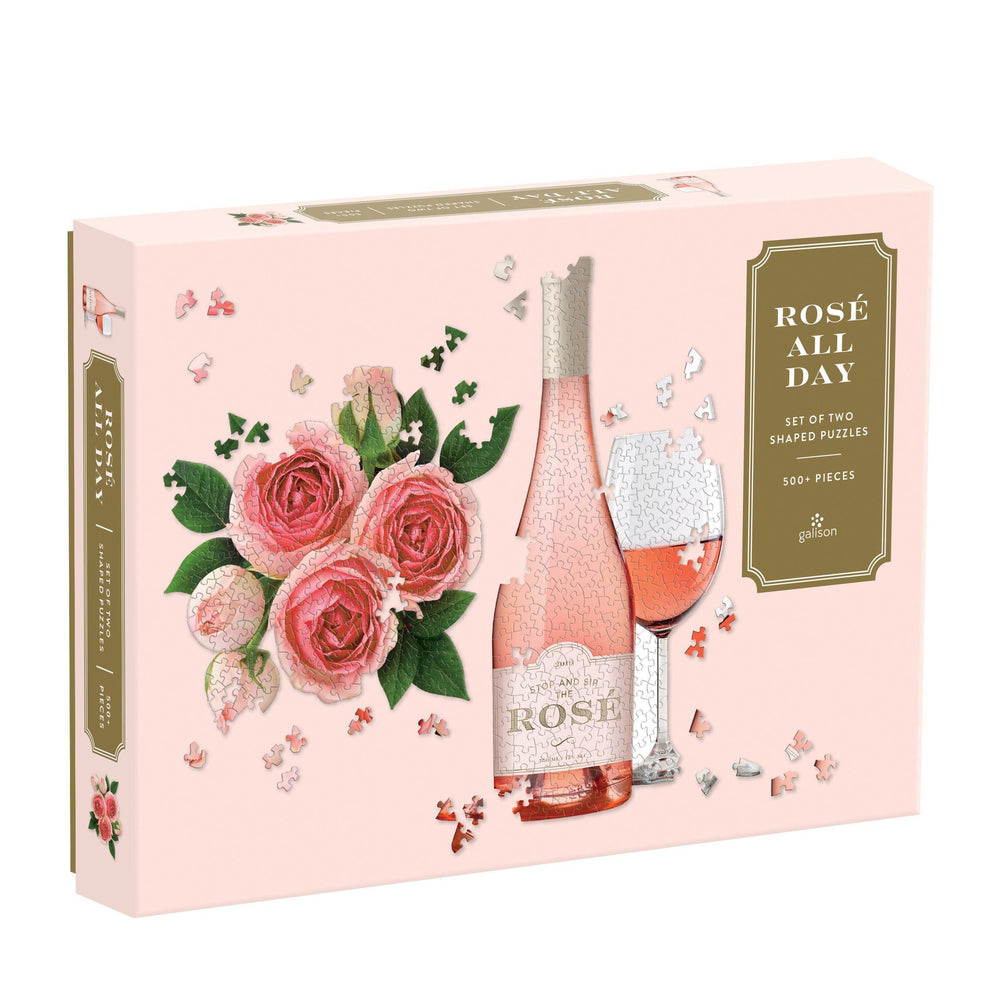 Rosé All Day Set of Two Shaped Puzzle Set