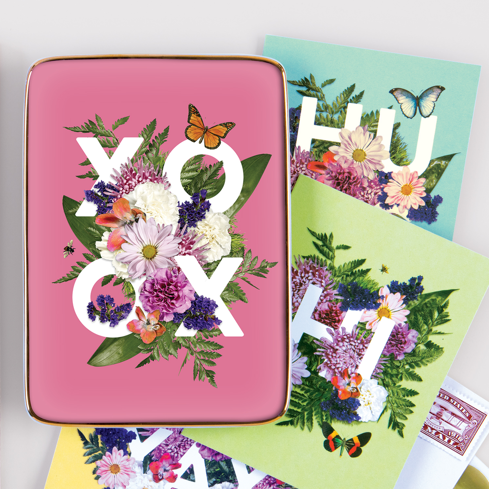 SAY IT WITH FLOWERS XOXO PORCELAIN TRAY