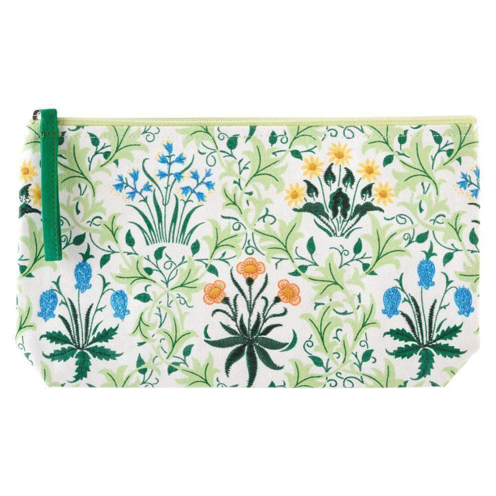 WILLIAM MORRIS CELANDINE EMBROIDERED POUCH
