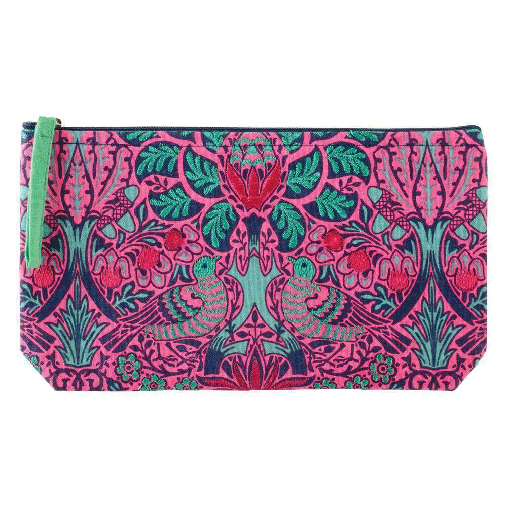 WILLIAM MORRIS DOVE AND ROSE EMBROIDERED POUCH