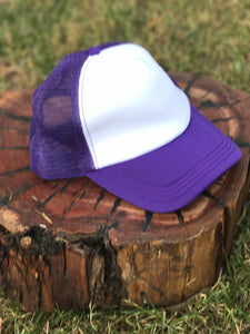 Hat purple and white