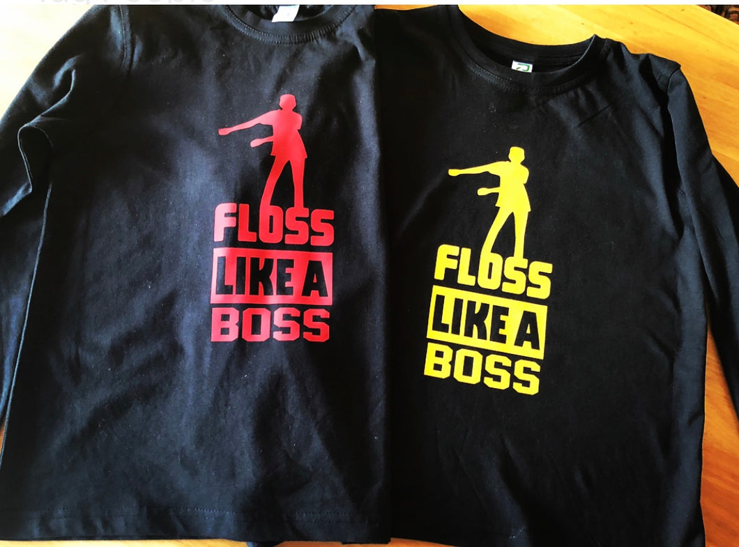 KIDS FLOSS LIKE A BOSS T-shirt (YELLOW FONT)
