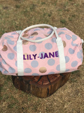 Personalised Girls Overnight Bag PINK- PURPLE SPARKLE FONT
