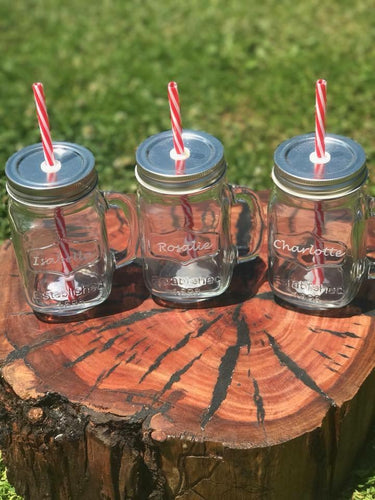 Personalised glass mugs with straw
