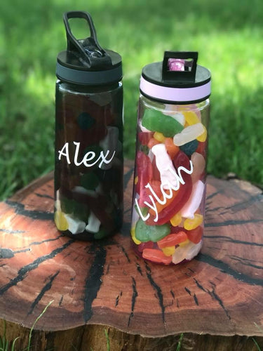 Personalised Plastic drink Bottle in PINK filled with lollies