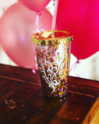 Confetti Tumbler with white flourish