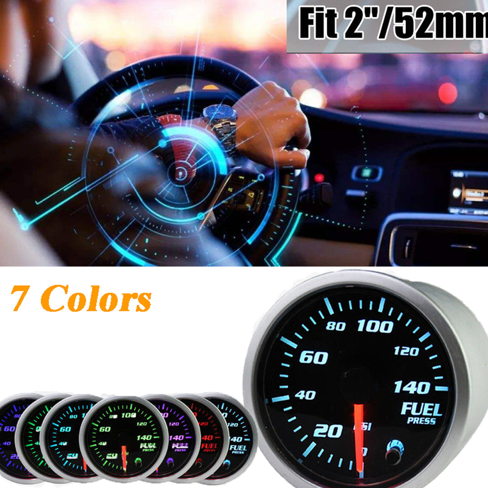 MotorbyMotor 2 Inch 52mm Oil Pressure Gauge, 0-120PSI Electronic Oil Press Gauge ,Digital Blue LED Sensor