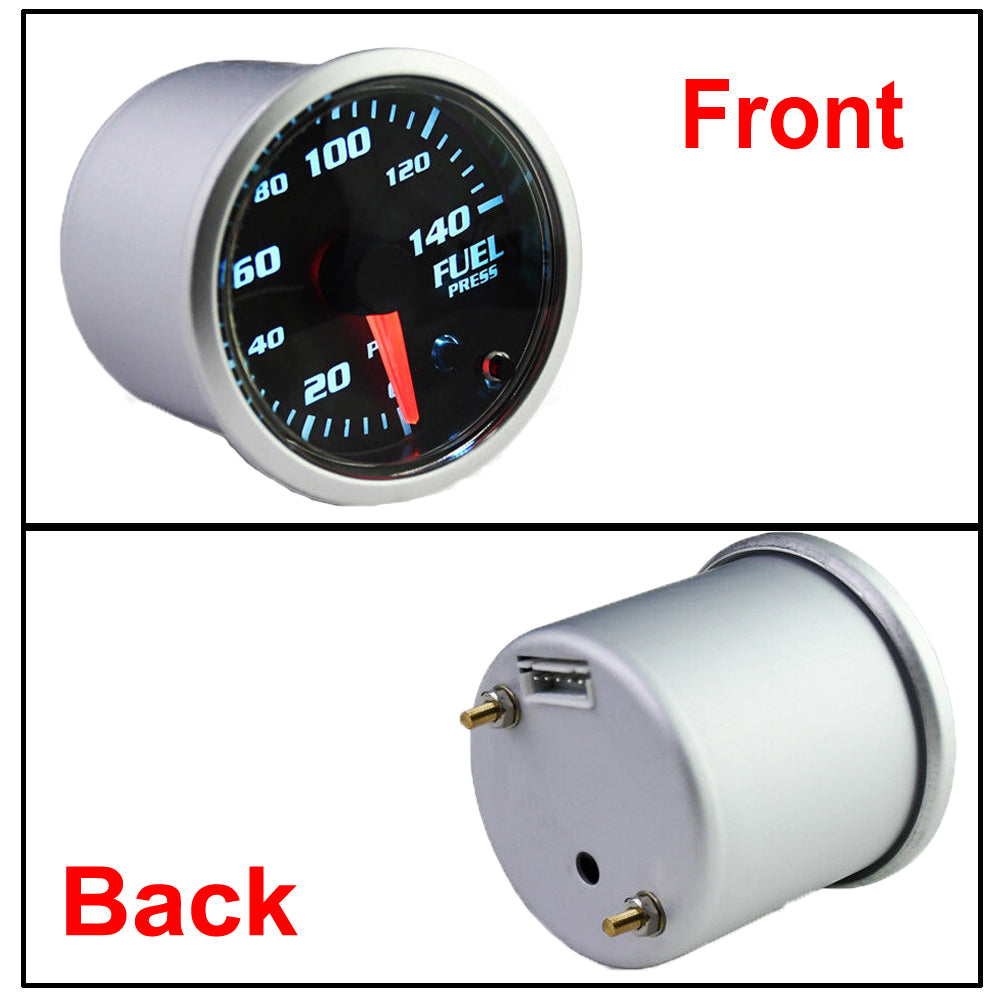 MotorbyMotor Fuel Pressure Gauge 140 PSI Electronic Fuel Gauge Kit 7 Color LED Digital Display Fuel Gauge-Smoked Lens