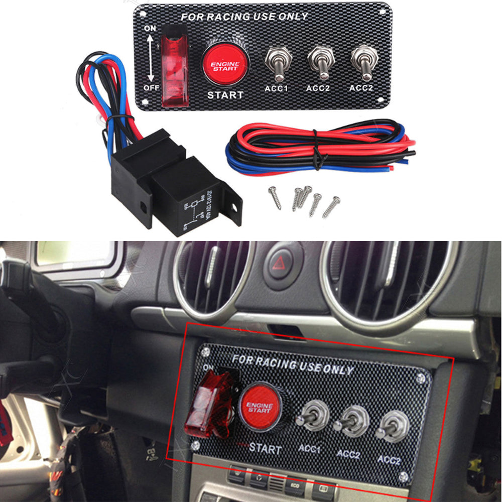 DC 12V Ignition Switch Panel 5 in 1 Car Engine Start Panel Push Button LED 3 Toggle Racing Panel-with Indicator Light for Racing Car