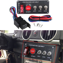 Load image into Gallery viewer, DC 12V Ignition Switch Panel 5 in 1 Car Engine Start Panel Push Button LED 3 Toggle Racing Panel-with Indicator Light for Racing Car