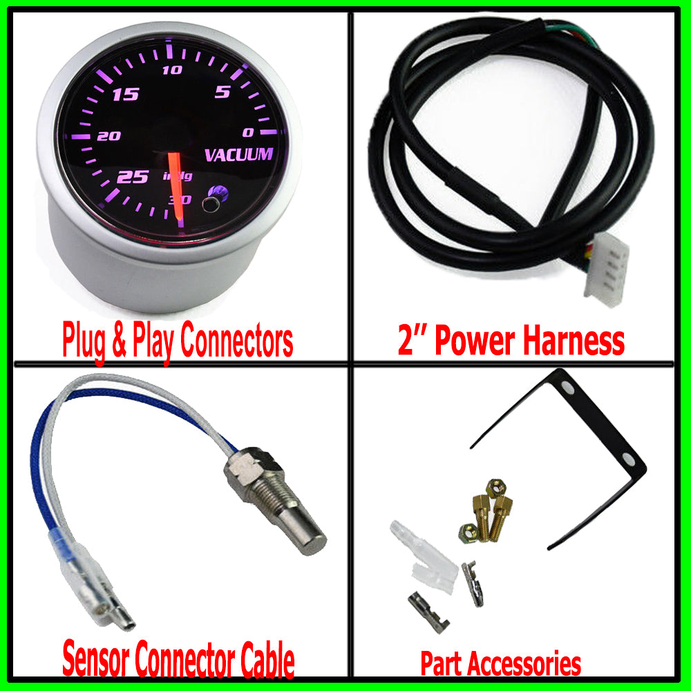 7 Color Vacuum Gauge Kit-2 Inch 52mm Vacuum Indicator Gauge 0 to 30 in.HG Vacuum Auto Car Meter Smoke Tint Lens 12V