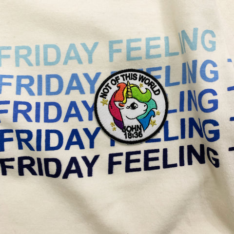 That Friday Feeling Tee with Christian patches